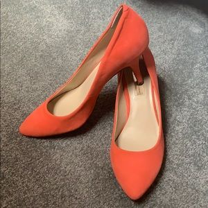 EUC: coral synthetic suede heels